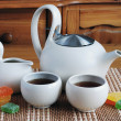 Teapot and two cups tea — Stock Photo