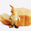 Bread and gnome — Stock Photo