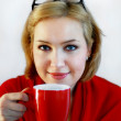 Woman with tea cup — Stock Photo