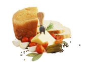 Bread,cheese and vegetables — Stock Photo
