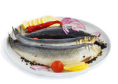 Herring and vegetables — Stock Photo