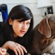 Stock Photo: Woman and dog