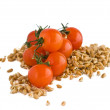 Tomatoes and Wheat grains — Stock Photo