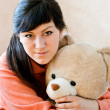 Girl and bear — Stock Photo