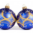 Dark blue christmas balls — Stock Photo