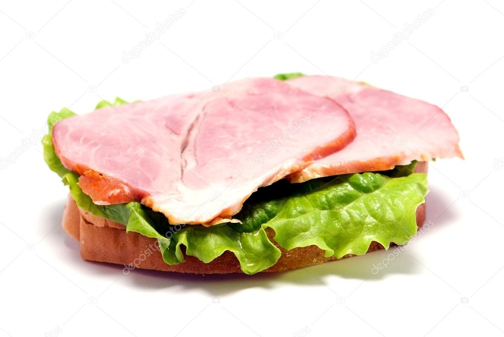 Ham sandwich isolated over white background — Stock Photo #1387256