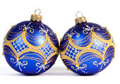 Dark blue christmas balls — Stock Photo