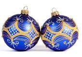 Donker blauwe kerstballen — Stockfoto