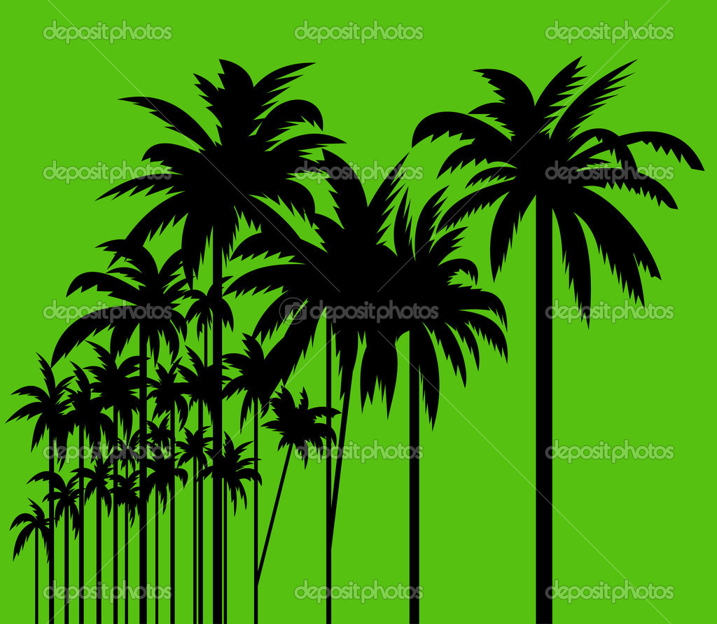 Group of palm trees on green background.  — Stock Vector #1114266