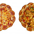 Vegetarian and sausage pizzas - Stock Photo