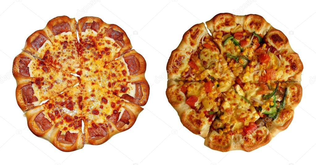 Vegetarian and sausage pizzas isolated on white. — Stock Photo #1158239