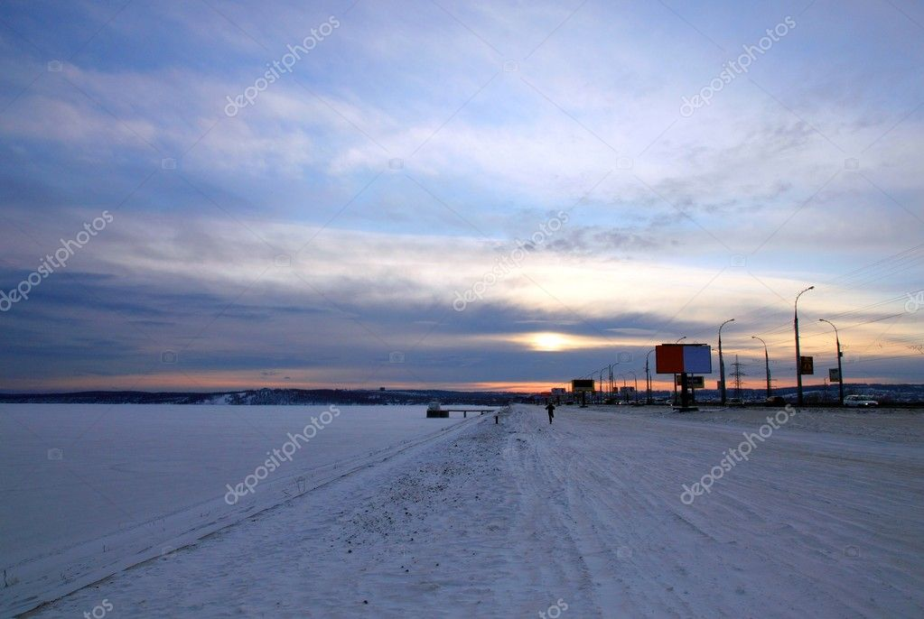 Irkutsk, Siberia, Russia. Winter. Twilight.   Stock Photo #1492268