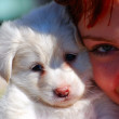 Stock Photo: Womwith puppy