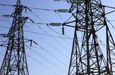 Close up of two electricity pylons — Stock Photo