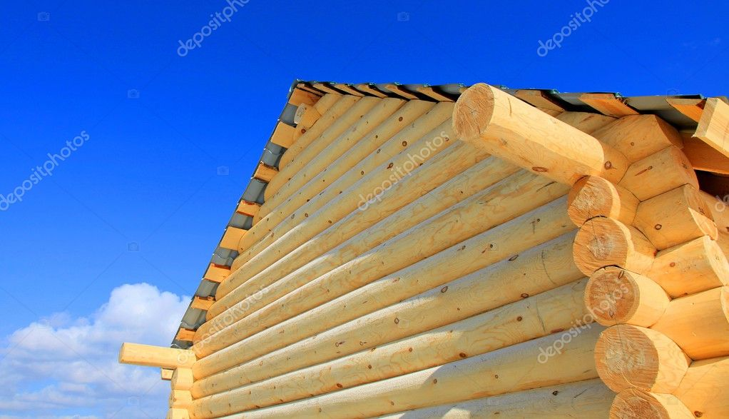 Part of wooden house. Close up.  Stock Photo #2529777
