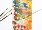 Different brushes and color palette — Stock Photo