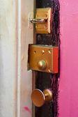 Grunge pink door with gold lock — Stock Photo