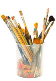 Brushes on white background — Stock Photo