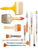 Brushes and other art making tools — Stock Photo