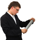 Young manager look at the plan — Stock Photo