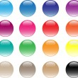 Stock Photo: Glassy buttons. 16 different colors