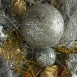 Gold and silver tinsel - Stock Photo