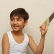 Smiling boy with saw — Stock Photo