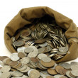 Royalty-Free Stock Photo: Money coins pour out from bag