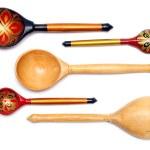 Set of five russian wooden spoones — Stock Photo #1114093