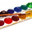 Set of water-colour paints and brush — Stock Photo