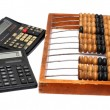 Old abacus and two calculators — Stock Photo #1116181