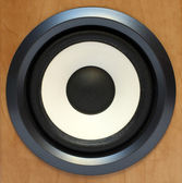 Round bass sound speaker — Stock Photo