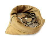 Money coins in bag — Stock Photo