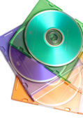 Colored dvd compact discs — Stock Photo