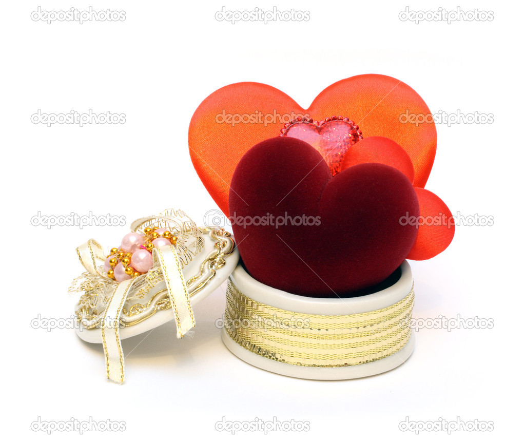 Valentine day - few hearts in open box — Stock Photo #1113373