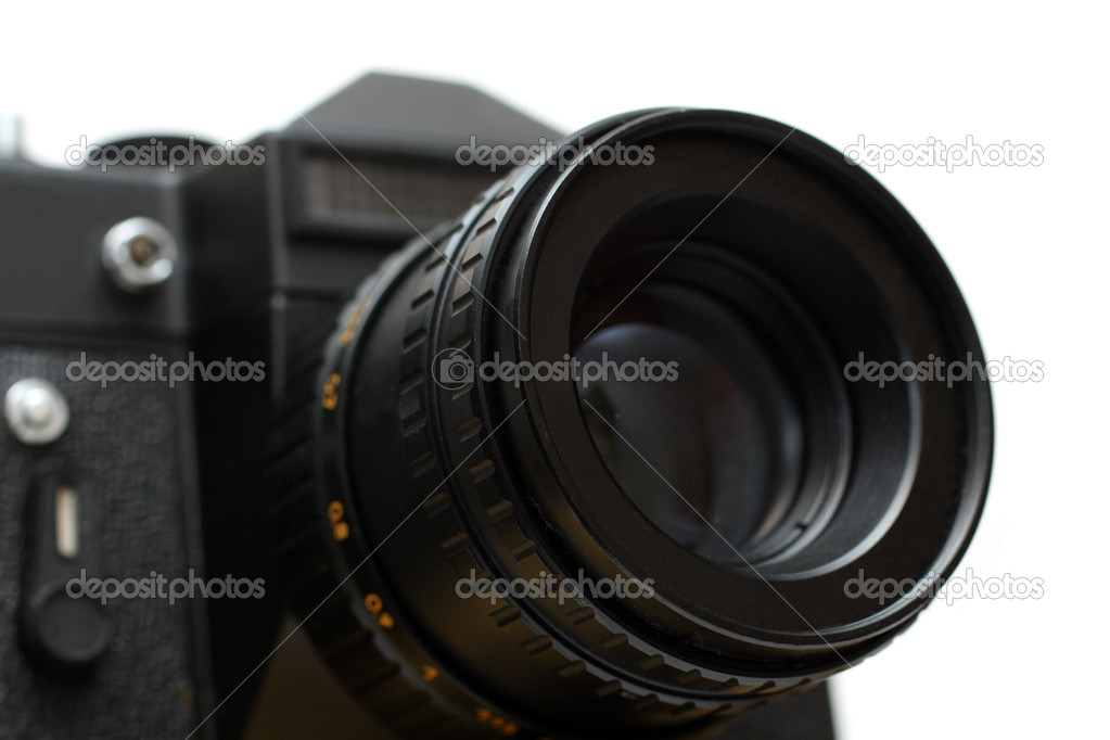 Black slr camera with lens close-up isolated on white  Stock Photo #1113834
