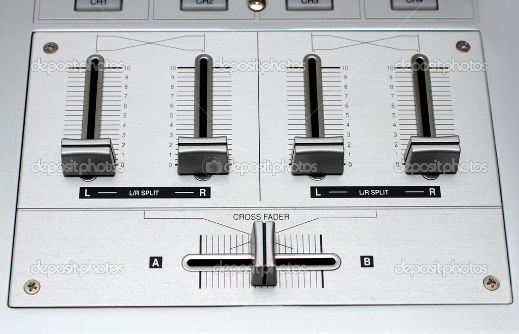 Fading controls of dj music mixer close-up — Stock Photo #1114754