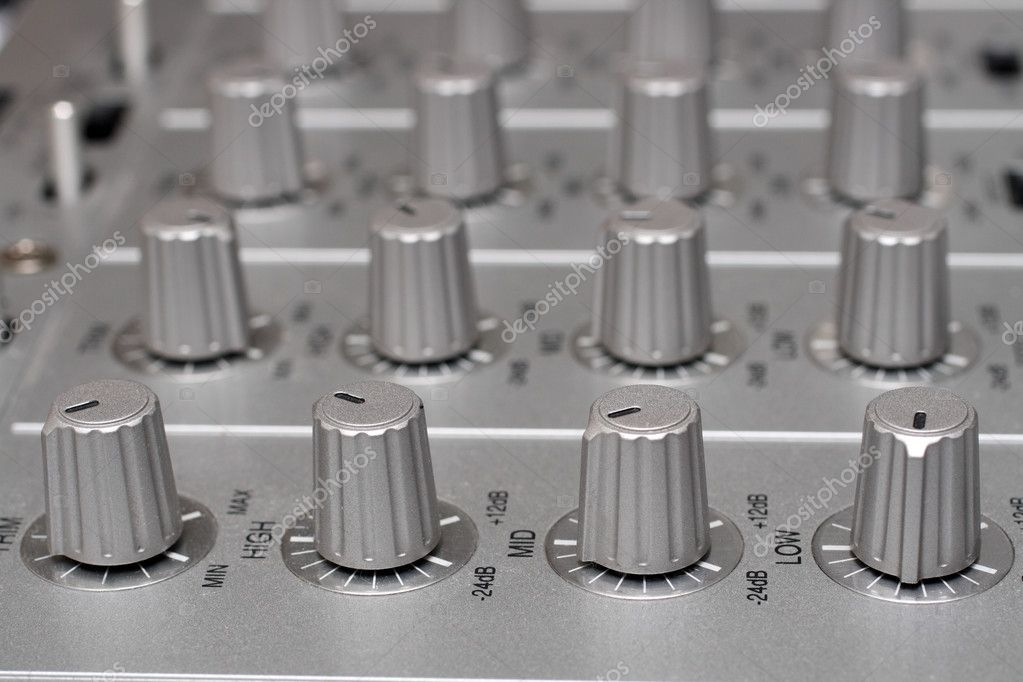 Controls of dj music mixer close-up — Stock Photo #1114788