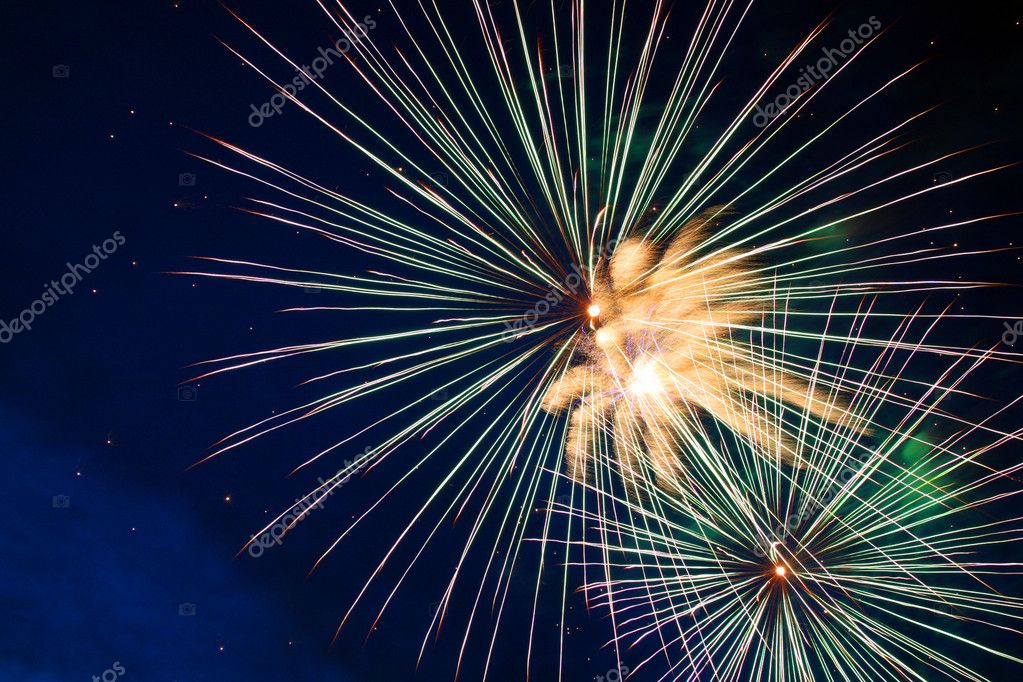 Celebration fireworks in the night — Stock Photo #1117656