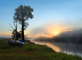 Fog sunrise on the river — Stock Photo