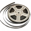 Old movie film on metal reel — Stock fotografie