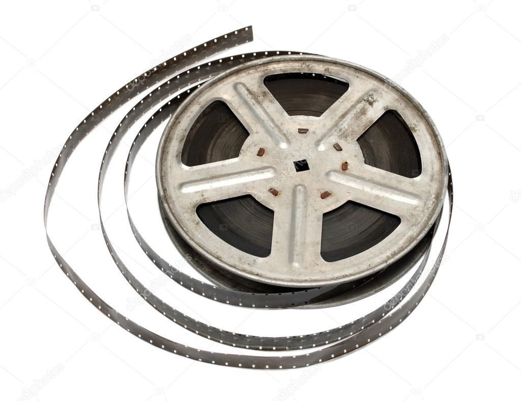 Old movie film on metal reel isolated on white — Stock Photo #1583563