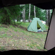 Camping - view from tent — Stock Photo