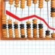 Decrease diagram on abacus — Foto Stock