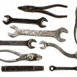 Set of old dirty tools - Stock Photo