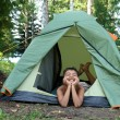 Happy boy in camping tent — Stock Photo #1595559