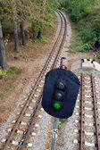 Railroad and semaphore with green signal — Stock Photo