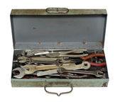 Old rusty box with tools — Stock Photo