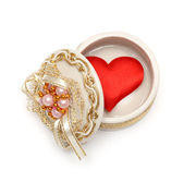 Red heart in open box — Stock Photo