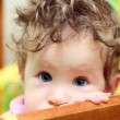 Touching baby close-up - Stock Photo